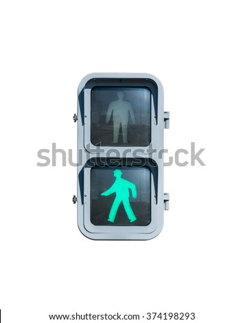 Keep walking traffic sign with illuminated isolated on white. - stock photo