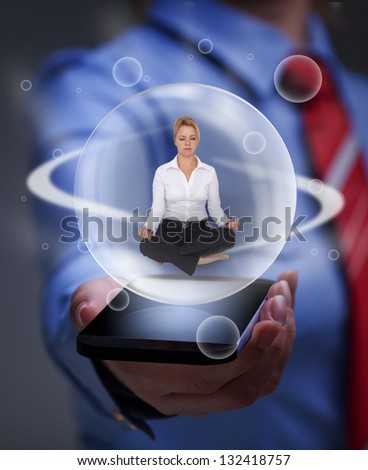 Keep your balance in the digital information overload - business woman relaxing - stock photo