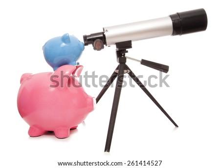 keeping an eye on your finances piggy bank cutout - stock photo