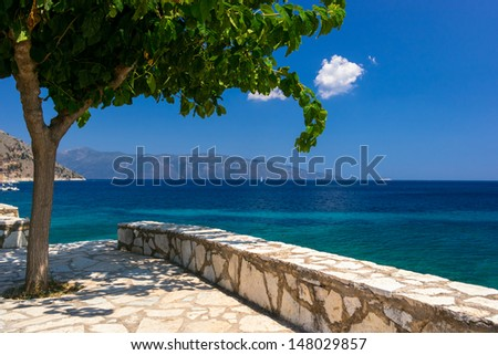 Kefalonia beach and Ionian sea in the Greece - stock photo