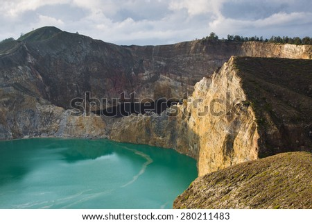 Kelimutu color lakes Volcano. Flores, Indonesia - stock photo