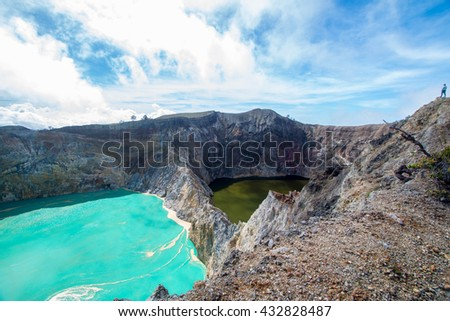 Kelimutu Vulcano 3 color lakes - stock photo