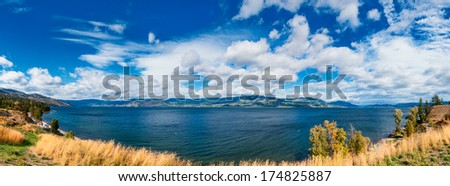 Kelowna Okanagan lake, Lakeshore Road Okanagan Valley BC - stock photo