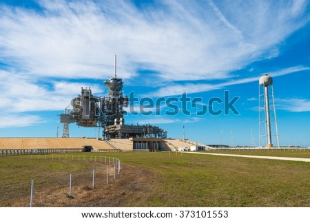 Kennedy Space Center Launch Complex 39, Kennedy Space Center in Florida, 13th January 2014 - stock photo