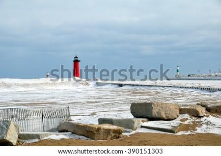 Kenosha, Wisconsin, North Pier Lighthouse in winter - stock photo