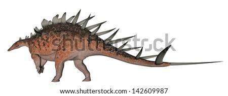 Kentrosaurus dinosaur with lots of spike on the back in white background - stock photo