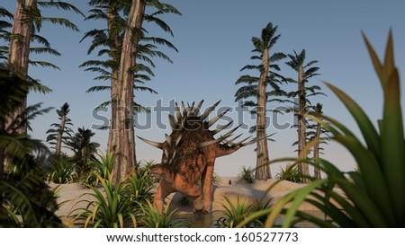 kentrosaurus in tempskya grove  - stock photo