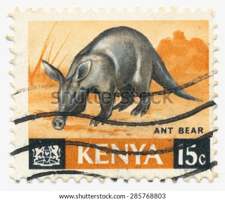 KENYA - CIRCA 1966: A stamp printed in Kenya shows Aardvark, circa 1966 - stock photo