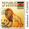 KENYA - CIRCA 1964: a stamp printed in Kenya shows image of a lion, circa 1964 - stock photo