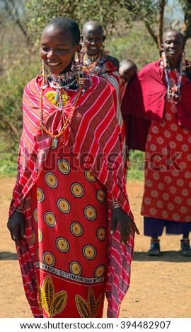 KENYA - FEBRUARY 23 : Maasai women at 23 February 2016 in Kenya. The Maasai are an indigenous tribe of Kenya and Tanzania. - stock photo
