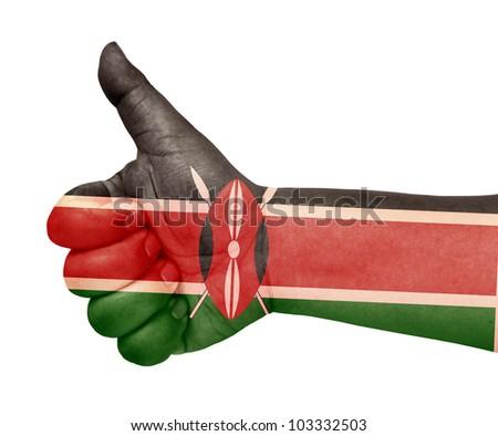 Kenya flag on thumb up gesture like icon on white background - stock photo