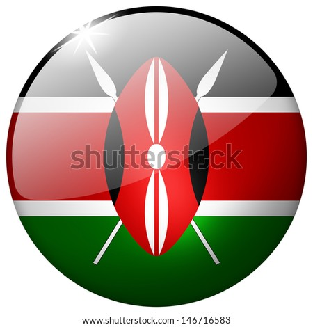 Kenya Round Glass Button - stock photo