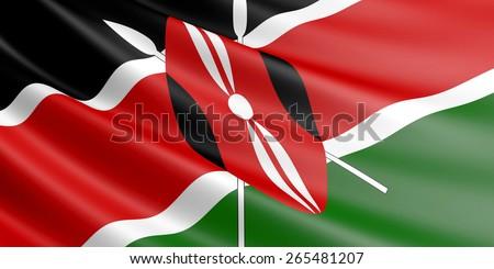 Kenyan flag fluttering in wind. - stock photo