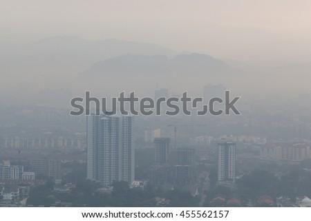 Kepong, north of Kuala Lumpur city in a hazy day - stock photo