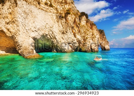 Keri caves on Zakynthos island, Greece - stock photo