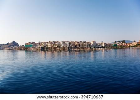 Kerkyra (Corfu) town on the West coast of the of Corfu Island in the Aegean sea. Greece. - stock photo