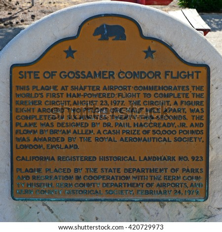KERN COUNTY, CA - MAY 15, 2016: The plaque at Minter Field commemorates the historic flight of the Gossamer Condor, the first human powered aircraft to achieve sustained flight. - stock photo
