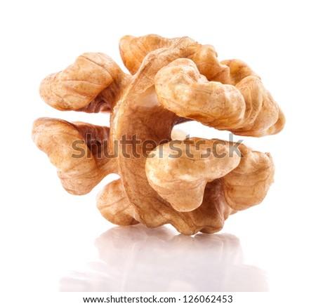 Kernel walnut isolated on the white background closeup - stock photo