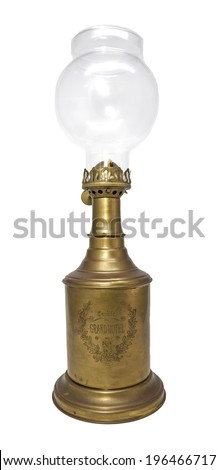 Kerosene lamp from Paris isolated on white background. - stock photo