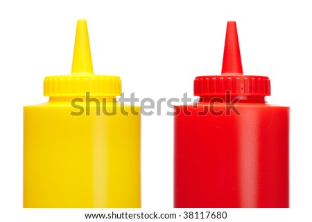 Ketchup and mustard bottles isolated on a white background - stock photo