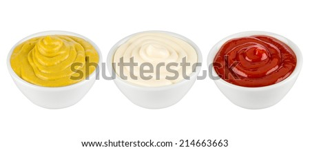 ketchup, mustard and mayonnaise in ceramic bowls - stock photo