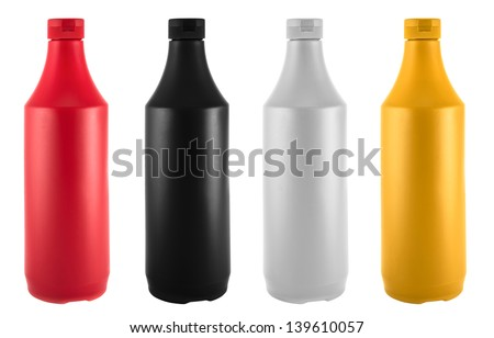 Ketchup, mustard, mayonnaise and soy sauce bottles isolated over white background - stock photo