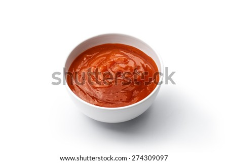 ketchup or chili sauce isolated on white background - stock photo