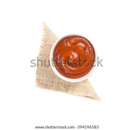 ketchup tomato sauce in a white bowl - stock photo