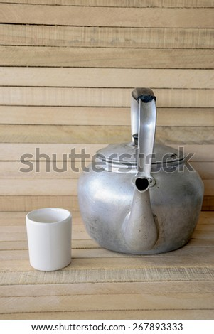 kettle and glass ceramics - stock photo