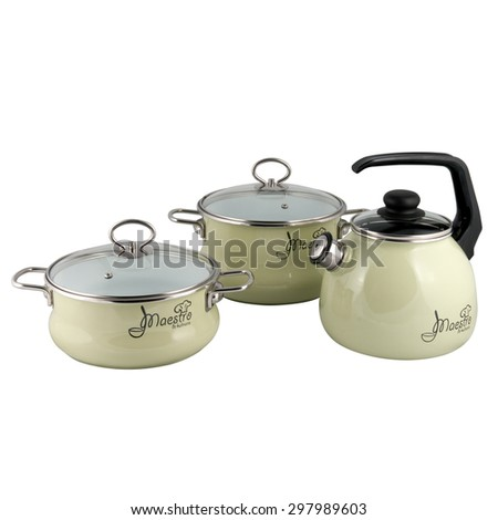 kettle and pot for boiling isolated on white background - stock photo