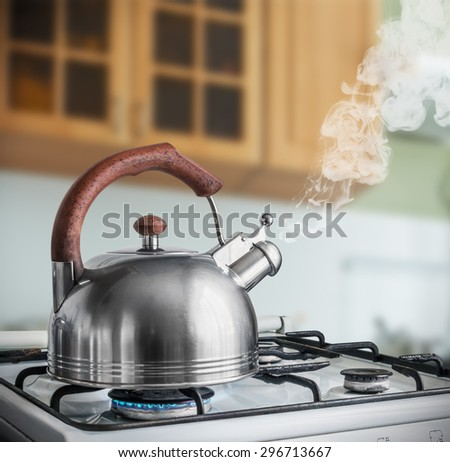 kettle boiling on a gas stove in the kitchen. Focus on a spout - stock photo
