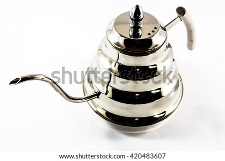 Kettle for coffee drip on white background - stock photo
