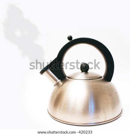 Kettle with steam isolated on white - stock photo