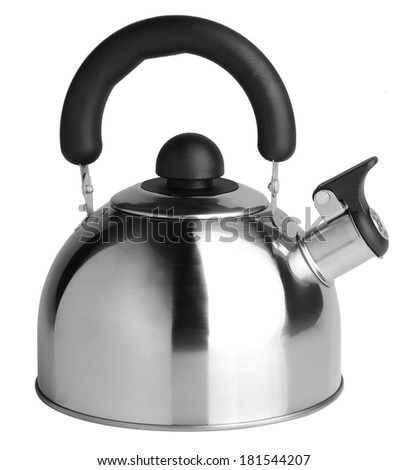 Kettle with whistle on the background. - stock photo