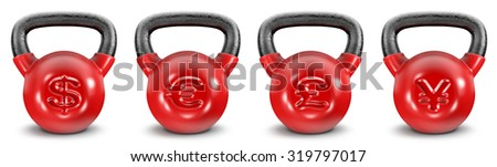 Kettlebell currencies / 3D render of heavy kettlebells with currency symbols, easy to colorize - stock photo
