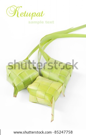 Ketupat on white background. Ketupat is traditional food in Malaysia for celebration - stock photo
