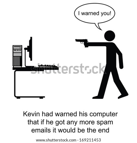 Kevin finally had enough of spam emails cartoon isolated on white background  - stock photo
