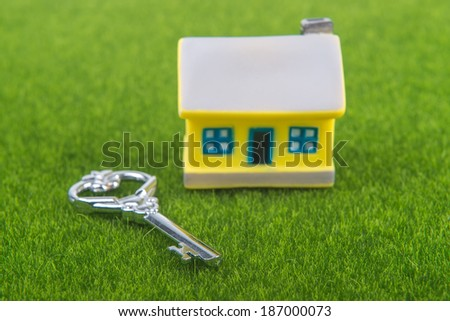 key and house on grass background - stock photo