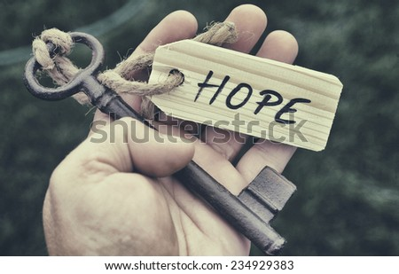 Key and label. Hope concept - stock photo