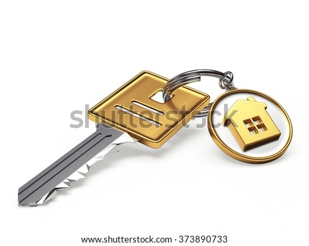 Key and round key chain with house isolated on white - stock photo