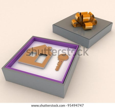 Key and symbol of house in gift box. Concept of your dream house. - stock photo