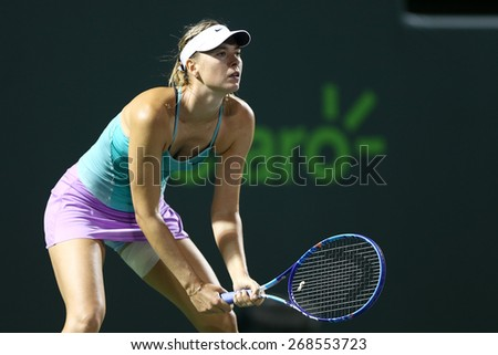 KEY BISCAYNE, FL-MAR 26: Maria Sharapova of Russia waits for the serve during day four at the Miami Open at Crandon Park Tennis Center on March 26, 2015 in Key Biscayne, Florida. - stock photo