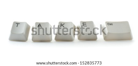 key board letters isolated on a white background spelling take control - stock photo