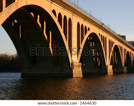Key Bridge in Georgetown Washington DC over the Potomac River - stock photo