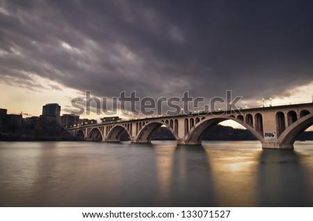 Key Bridge leading to Rosslyn in Arlington, Virginia - stock photo