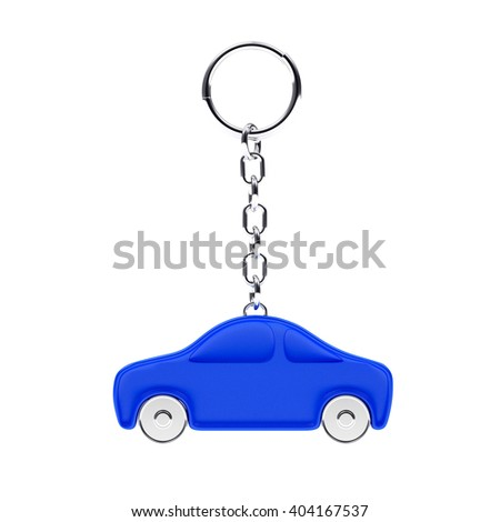 Key chain in the form of a blue car isolated on white background. 3d Rendering. - stock photo
