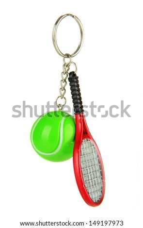 Key chain-tennis racket and tennis ball isolated on white - stock photo