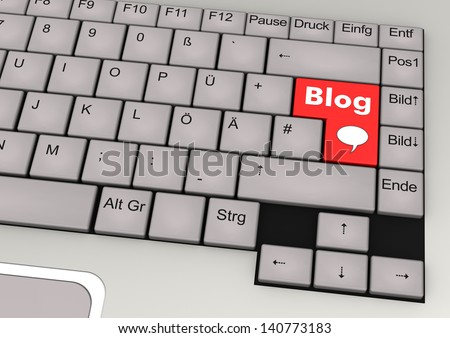 Key console with red key and the text Blog. - stock photo
