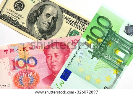 Key currencies as of today  US dollar, Euro, Chinese Yuan - stock photo