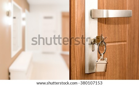 Key Door Real Estate Rent Home House Broker Buy - Stock Image - stock photo